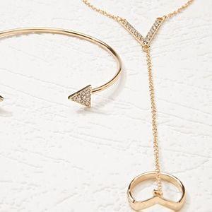 Jewelry - Gold tone Bracelet Ring Hand Chain set